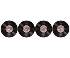 Beistle 57747 1er Pack glitzernde Rock and Roll Luftschlangen Partydeko Record Cutouts mehrfarbig