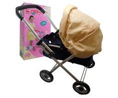 Allkindathings so-617–3 Puppen Buggy Baby Kinderwagen cremefarben Kapuze und Marineblau Körper Spielzeug Kinderwagen