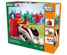 BRIO World 33873 Großes Smart Tech Reisezug Set - Elektrischer Zug mit Schienen, Tunnel & Fußgängerbrücke - Interaktives Spielzeug empfohlen ab 3 Jahren
