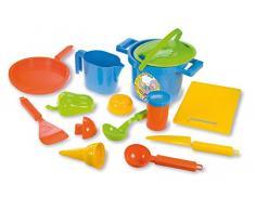 Lena 05410 - Happy Sand Spielset Kochen, 14 teilig, Sand und Wasser Spielzeug Set für Kinder ab 2 Jahre, mit Topf, Sieb, 3 Förmchen, Brett, Pfanne, Eislöffel, Eistüte und weitere Küchenzubehör Teile