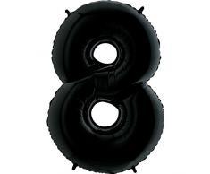 Trendario Folienballon Zahl 8 (Schwarz) - XXL Riesenzahl 100cm Ballon - Helium Luftballons für Geburtstag, Partydeko, Hochzeit (Zahl 0, Silber)
