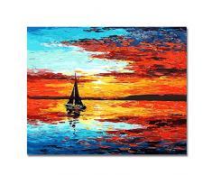 BOSHUN Malen nach Zahlen DIY Ölgemälde für Kinder Erwachsene Anfänger- Sonnenuntergang 16x20 Zoll Leinwanddruck Wandkunst Dekoration (Ohne Rahmen)