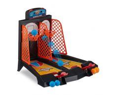 Relaxdays 10023497 Basketball Tischspiel, lustiges Tisch Basketballspiel, für Kinder ab 3, Erwachsene, HBT 22,2 x 28 x 21cm, bunt