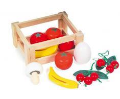 Small Foot 7122 Obst-und Gemüsekiste aus Holz mit 10 bunt lackierten Teilen, tolle zum Kaufladen Zubehör