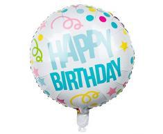 Boland 31005 - Folienballon Happy Birthday, 1 Stück, Größe ca. 45 cm, Mehrfarbig, Luftballon mit Helium befüllbar, Alles Gute zum Geburtstag, Konfetti, Luftschlangen, Geschenk, Dekoration, Gartenparty