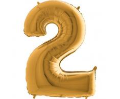 Trendario Folienballon Zahl 2 (Gold) - XXL Riesenzahl 100cm Ballon - Helium Luftballons für Geburtstag, Partydeko, Hochzeit (Zahl 0, Silber)