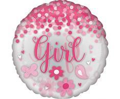 Amscan International 3931711 Folienballon Anagram, 66 cm, 1 Stück pro Konfetti, für Mädchen