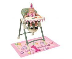Dekorations-Set zum 1. Geburtstag für den Hochstuhl mit pinken Luftballons