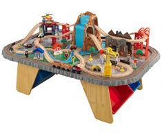 KidKraft 17498 Eisenbahnset und Spieltisch Waterfall Junction Bahngleis-Set und Tisch aus Holz, Naturfarben