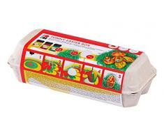 Marabu 1305000000091 - Easy Marble Funny Easter Box, Marmorierfarbe, Set zum Tauchmarmorieren von Kunststoff, Glas, Holz und Styropor, 3 x 15 ml Farbe, 7 Kunststoffeier, 7 Holzspieße und Ostergras
