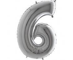 Trendario Folienballon Zahl 6 (Silber) - XXL Riesenzahl 100cm Ballon - Helium Luftballons für Geburtstag, Partydeko, Hochzeit (Zahl 0, Silber)