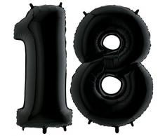 Ballon Zahl 18 in Schwarz - XXL Riesenzahl 100cm - zum 18. Geburtstag - Party Geschenk Dekoration Folienballon Luftballon Happy Birthday Black