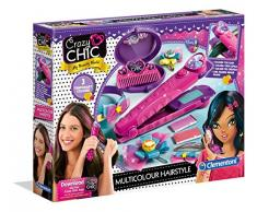 Clementoni 15225 Crazy Chic – Farb-Hairstyler, auswaschbare Haarkreide in 3 Farben, für knallige Strähnchen & bunte Highlights, inkl. Spiegel, für Kinder ab 6 Jahren