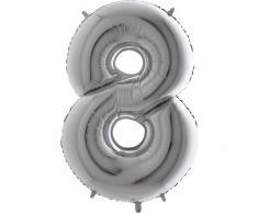 Trendario Folienballon Zahl 8 (Silber) - XXL Riesenzahl 100cm Ballon - Helium Luftballons für Geburtstag, Partydeko, Hochzeit (Zahl 0, Silber)