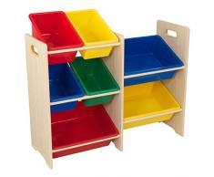 KidKraft 15470 Ordnungssystem Regal aus Holz mit 7 Kisten - Aufbewahrungsboxen für Kinder-Spielzeug in primär- & naturfarben - Kinderzimmer Möbel