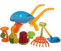 Bieco 06087811 - Sandspielzeug Set mit Schubkarre und Zubehör, 7 teilig