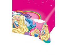 Amscan 9902526 - Tischdecke Barbie, 1 Stück, Größe 120 x 180 cm, Kunststoff, wasserabweisend, Pink mit mehrfarbigen Motiven, Dreamtopia, Regenbogen, Einhorn, Unicorn, Rainbow, Kinderparty, Geburtstag