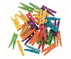 Glorex 6 2200 657 - Wäscheklammern aus Birkenholz, farblich sortiert, ca. 25 mm, 30 Stück, ideal zum Basteln und Dekorieren, für Fotoleinen, Tischkärtchen, Grußkarten