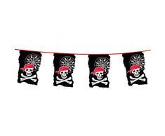 Boland 74183 - Wimpelkette Pirat, Länge 4 m, Freibeuter, Totenkopf, Hängedekoration, Girlande, Geburtstag, Partydekoration, Partygeschirr, Motto Party, Karneval