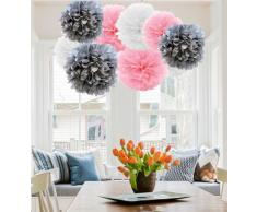 A Liittle Tree A 9/12 Stück gemischte Seidenpapier-Pompons zum Aufhängen, Girlande, Hochzeit, Party, Dekoration, Rosa