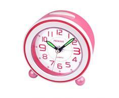 Wecker,Analoger Wecker Kinder, Kompakt Nicht Tickendes Bett Reise Silent Wecker mit Lautem Alarm, Nachtlicht, Snooze, Batteriebetriebene Weckuhr (Rosa)