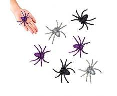 Boland 74476 - Glitterspinnen, 6 Stück, Größe 7 x 7 cm, Scherzartikel, Streich, Dekoration, Halloween, Motto Party, Karneval