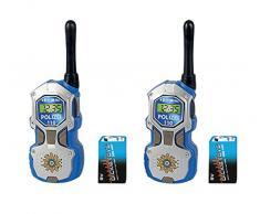Dickie Spielzeug 201118181 - Walkie Talkie Polizei, Sprechfunkgerät mit 80 m Reichweite, 17 cm, blau/silber