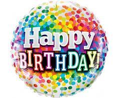 Qualatex 49496 45,7 cm Geburtstag Rainbow Konfetti rund Folienballon 01 ct
