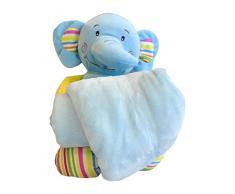 Hug Me 3830047237773 Plüsch Spielzeug 26 cm, Babyspielzeug mit Decke Kleine Elefant, 90 x 70 cm, blau