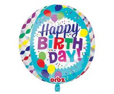 amscan 3456701 Folienballon Kugel Happy Birthday Luftschlangen
