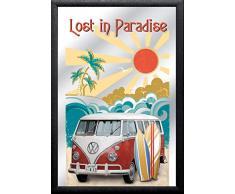 Close Up V829330 Spiegel Bulli T1 Lost in Paradise VW Lizenz Wandspiegel, Mehrfarbig
