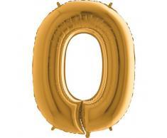 Trendario Folienballon Zahl 0 (Gold) - XXL Riesenzahl 100cm Ballon - Helium Luftballons für Geburtstag, Partydeko, Hochzeit (Zahl 0, Silber)