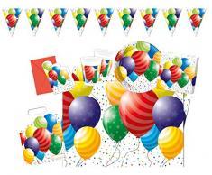 Procos 10117002 Partyset Geburtstag, Partyteller, Partybecher, Servietten, Partydeko, Luftballon, bunt