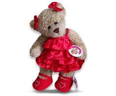Baue Dein Bears Kleiderschrank 15 Zoll Kleider passen Bj Bär Rüschen Kleid Und Schleifen (rot)