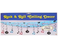 Beistle 57747 1er Pack glitzernde Rock and Roll Luftschlangen Partydeko Rock&Roll ceiling décor 12 x 12 Schwarz/Blau/Kirschrot