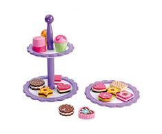 Small Foot by Legler Etagere Kekse und Pralinen aus bunt lackiertem Holz, ein dekorativer Ständer mit bunten Keksen und Pralinen sowie Muffins, schöne Ergänzung zur Kinderküche oder zum Kaufladen