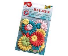 folia 12801 - Papierblumen farbig sortiert, 30 Stück, Größe ca. 2 - 5,5 cm - ideal als Tischdeko, Streudeko, zur Hochzeit, Party, Feier