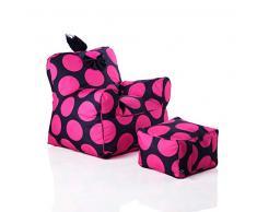 Sweety Toys 12152 Kindersessel Set Mit Hocker schwarz mit pinken Punkten Indoor/outdoor- waterproof