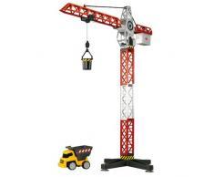 Dickie Spielzeug 203463337 - Kranset mit Baustellenfahrzeugen, Größe 67 cm, rot/weiß