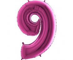 Trendario Folienballon Zahl 9 (Rosa) - XXL Riesenzahl 100cm Ballon - Helium Luftballons für Geburtstag, Partydeko, Hochzeit (Zahl 0, Silber)