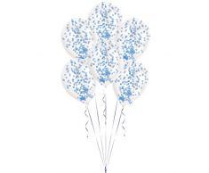 Amscan International 9902938 Latex Balloon-noveltyballoon 6 Stück Konfetti Kit Blau