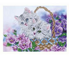 Pracht Creatives Hobby DD10-014 - Diamond Dotz Kätzchen im Korb, funkelndes Diamantbild zum Selbstgestalten, ca. 52 x 38 cm groß, Malen mit Diamanten, neuer und kreativer Basteltrend