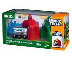 BRIO World 33834 Smart Tech Zug mit Actiontunnels - Elektrische Lokomotive mit Licht- & Sound-Effekten - Interaktives Spielzeug empfohlen ab 3 Jahren