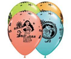 Qualatex 48724 Disney SEMO2002 und Maui Geburtstage rund Besondere Sortiment Latex Luftballons, 27,9 cm
