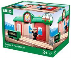 BRIO World 33578 Sprechender Bahnhof - BRIO Eisenbahn Zubehör mit Aufnahmefunktion - Kleinkinderspielzeug empfohlen ab 3 Jahren