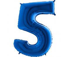 Trendario Folienballon Zahl 5 (Blau) - XXL Riesenzahl 100cm Ballon - Helium Luftballons für Geburtstag, Partydeko, Hochzeit (Zahl 0, Silber)