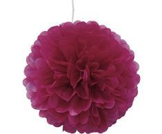 Pompons aus Seidenpapier, 25 cm, für Hochzeit, Party, Dekoration, über 20 Farben zur Auswahl, Fuchsia