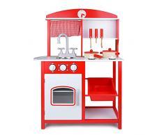 Bino & Mertens 83725 - Kinderküche aus Sperrholz, 8 tlg., hochwertig und massiv, rot-weiss lackiert. Mit Ofen, Waschbecken, Herdplatten, 2 Töpfen, Servierbrett und weiterem Kochzubehör. 60x83x27 cm.