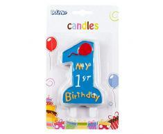 Boland 63411 - Geburtstagskerze My 1st Birthday, 1 Stück, Eins, mit Kerzenhalter, Stecker, Blau, 1. Geburtstag, Luftballon, Zahl 1, Kindergeburtstag, Minikerzen, Tortenkerze, Kuchen, Kindergarten