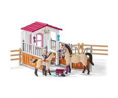 Schleich 42369 Pferdebox mit Arabern und Pferdepflegerin Spielzeug